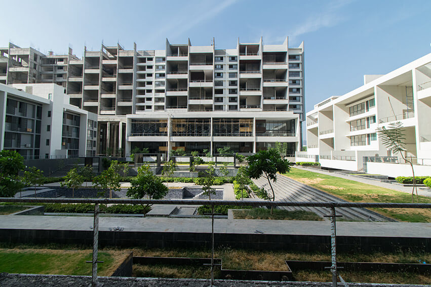 West court, view from G Building Duplex